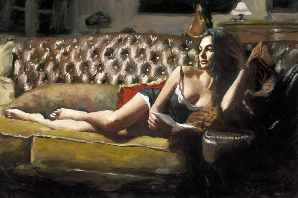 Study for Saba with Letter V by Fabian Perez - Limited Edition on Canvas sized 27x18 inches. Available from Whitewall Galleries